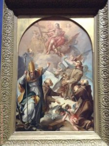 1630 - Drei Kapazinerheilige und ein heiliger Bischof beten Christus und das Kreuz an. (Three Capuchn Saints and a Bishop Worshipping Christ adn the Cross).