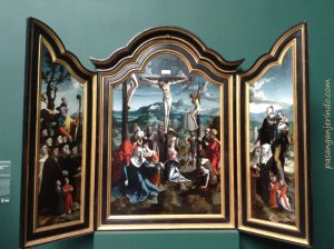 1530-1540: Triptychon mit Kreuzigung Christ Heiligen und Stifterfamilie. (Triptych with Crucifixion, Saints and Donors)