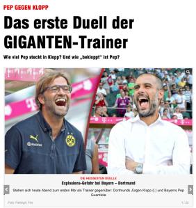 ki: Jürgen Klopp - ka: Pep Guardiola (Quelle: bild.de)